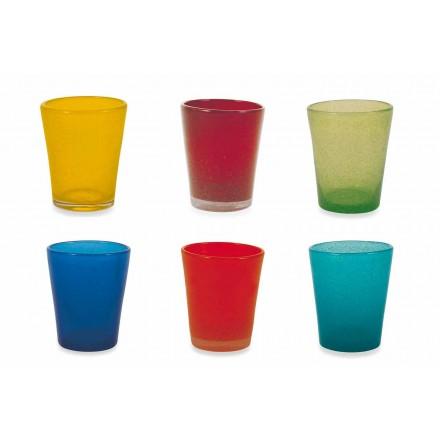 Wasserglas Service 12 Stück geblasenes und farbiges Glas - Yucatan Folk