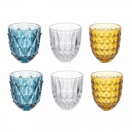 Wassergläser Service in farbigem Glas und Reliefdekoration 12 Stück - Angers