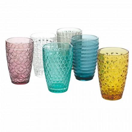 Modernes Glas-Trinkgeschirr Set aus verziertem Glas 12 Stück - Mix