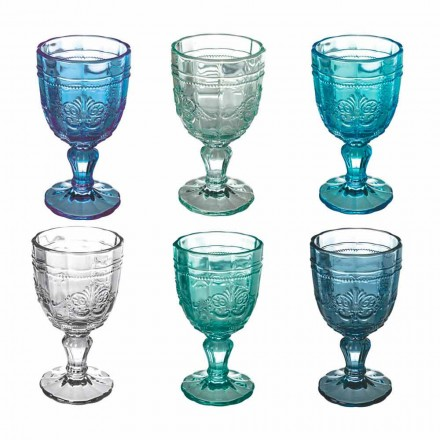 Farbiger Weinkelch Set in Glas und orientalischer Dekoration 12 Stück - Schraube