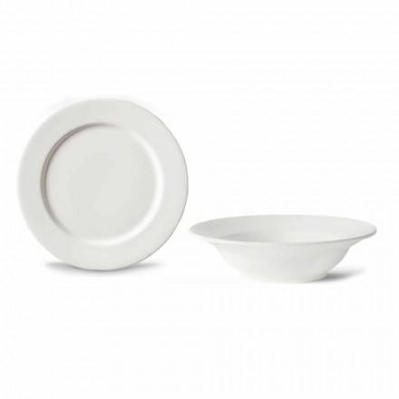 Dessert Service 6 Schüsseln und 6 Design Untertassen aus weißem Porzellan - Samantha