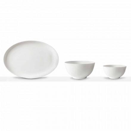 Weißes Porzellan Servierset Ovaler Teller und Schüssel 10 Stück - Romilda