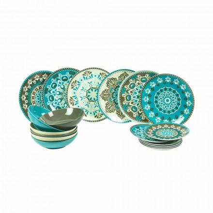 Gefärbtes Porzellangeschirr Set 18 Stück - Eivissa