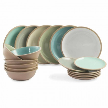 Geschirrset Farbige Teller Full 18 Pieces Design - Osteria