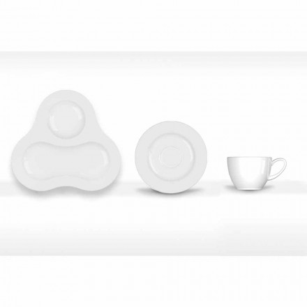 Komplettes Teeservice Modernes Design aus weißem Porzellan 14 Stück - Teleskop