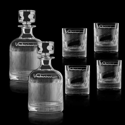 Ökologischer Kristall Whisky Service anpassbar mit Logo, 6 Stück - taktil