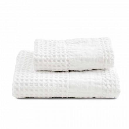 Bad-Set Handtücher in Baumwolle Wabe und farbige Wäsche - Turis