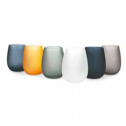 Modernes farbiges Glas Wasserglas Set, 12 Stück - Rand