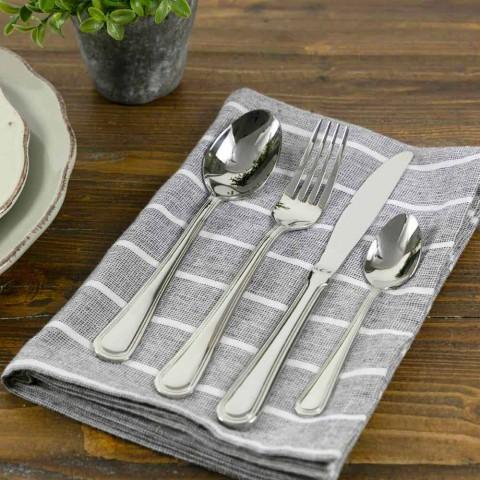 24-teiliges Besteckset aus Stahl im klassischen / modernen Design - Öse