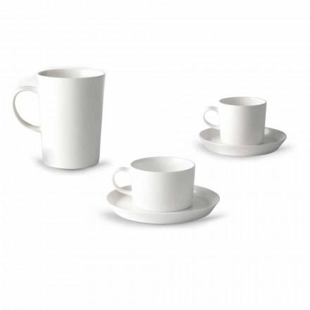 Kaffee-, Tee- und Frühstücksbecherservice 30 Stück aus weißem Porzellan - Egle
