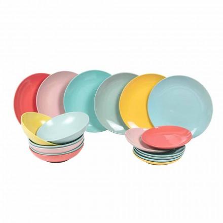 Geschirrset Farbiges modernes Geschirr 18 Stück Steinzeug - Miami
