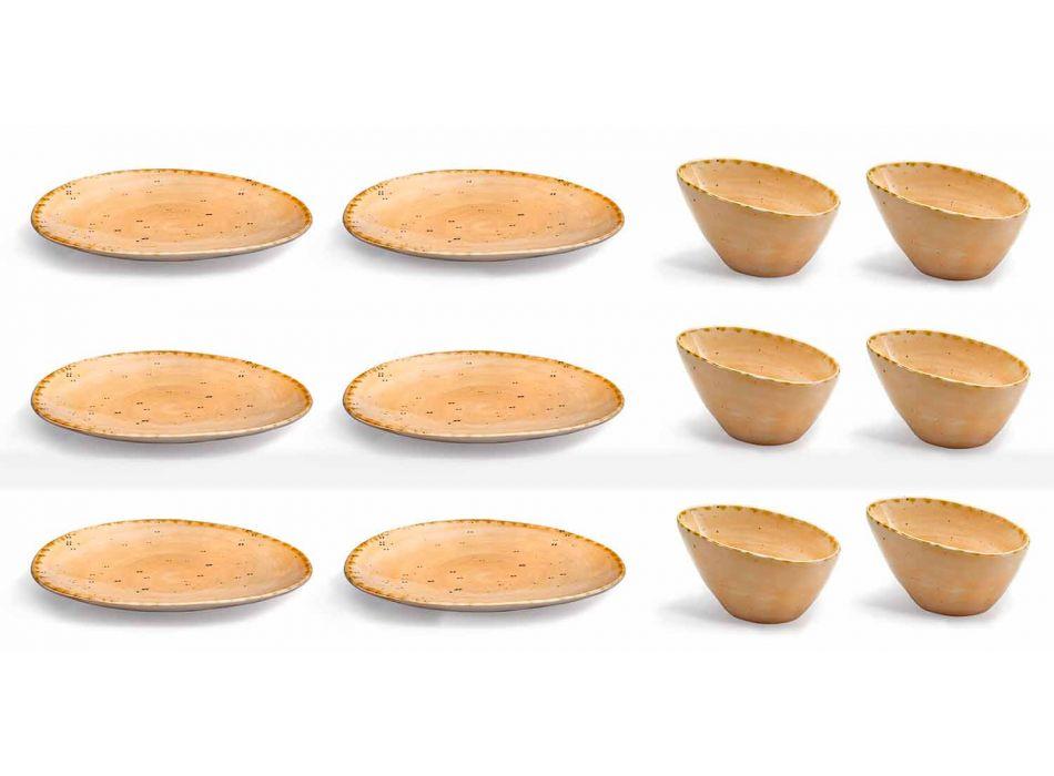12 Stück Vorspeisenteller Service in farbigem Steinzeug von modernem Design - Simba