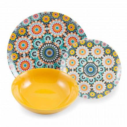 Farbige ethnische Teller Set Porzellan und Steinzeug 18 Mad - Marokko