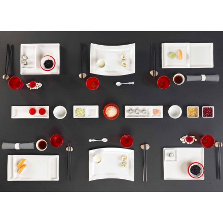 Geschirrset Modernes Design Rechteckiges Porzellan 25 Stück - Melbourne