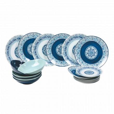 Moderner Tischservice Porzellan und Steinplatten Komplett 18 Stück - Ravello