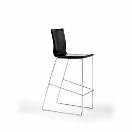 Stapelbarer Designhocker aus Stahl, Holz, Leder, Kunstleder oder Leder, 2 Stück