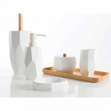 Design Badaccessoire-Set aus Holz und Harz Rivalba