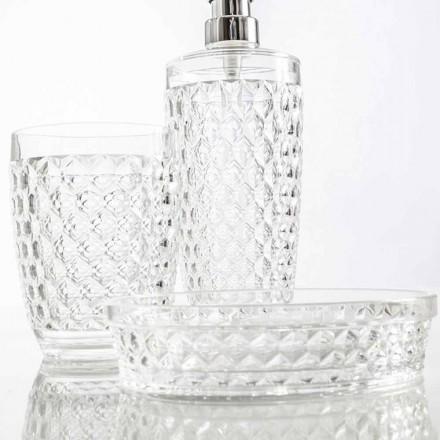 Modernes Set für Badspender, Glas, Seifenhalter Netro