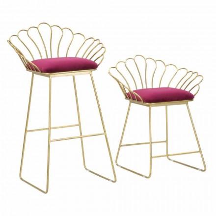 Paar moderne Design farbige Hocker aus Eisen und Polyester - Malika