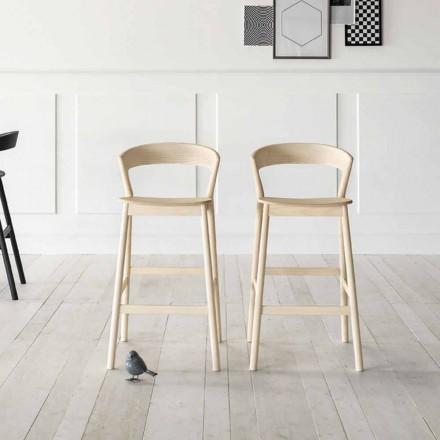 Hoher Küchenhocker mit Eschenholzstruktur Made in Italy - Oslo