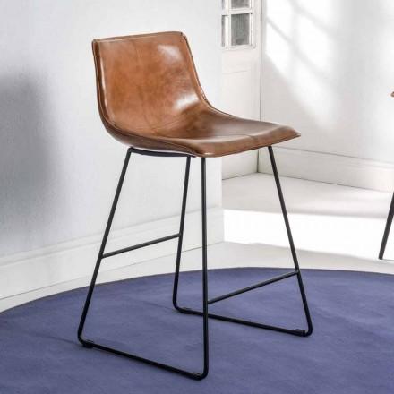 Hocker mit Schlittenstruktur, Sitzfläche aus Kunstleder - Ovidio