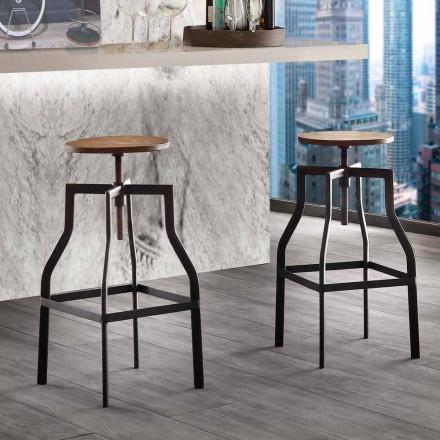 Moderner Design Hocker aus Metall und Holz verstellbar Livorno
