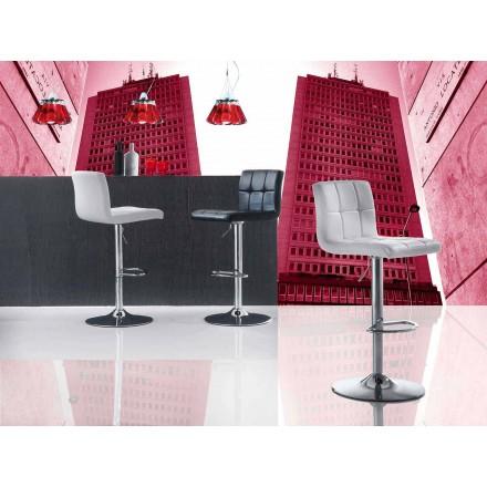 Höhenverstellbar Hocker mit Sitzfläche aus Kunstelder, modernem Design - Delfina