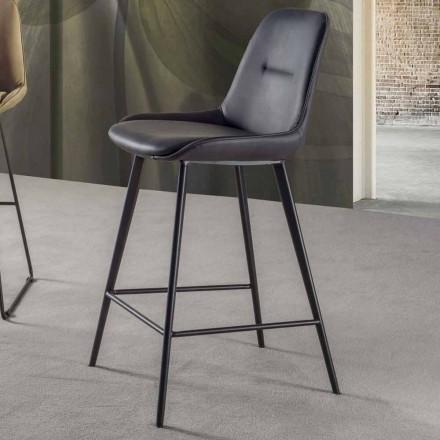 Moderner Hocker mit Sitzfläche aus Kunstleder H 65 cm - Ines