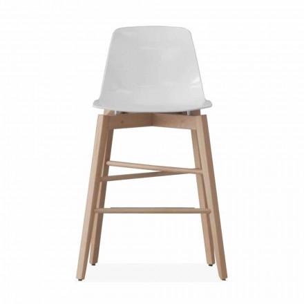 Hocker aus Eichenholz und weiß lackiertem Sitz in modernem Design - Langustine