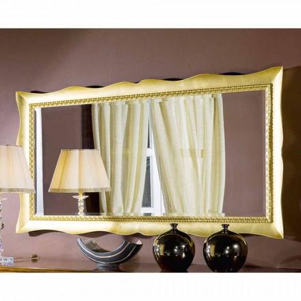 Handgearbeiteter Wandspiegel aus Gold- / Silberholz, made in Italy, Luigi