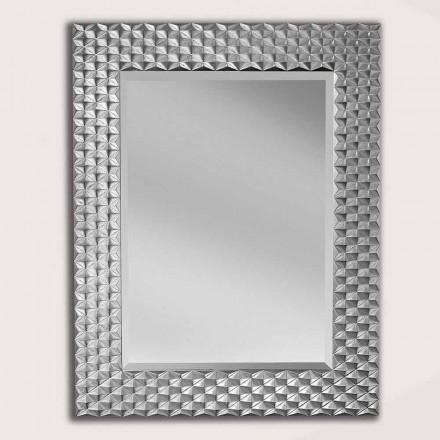 Silber / Gold Wandspiegel aus Holz, hergestellt in Italien, Giuseppe