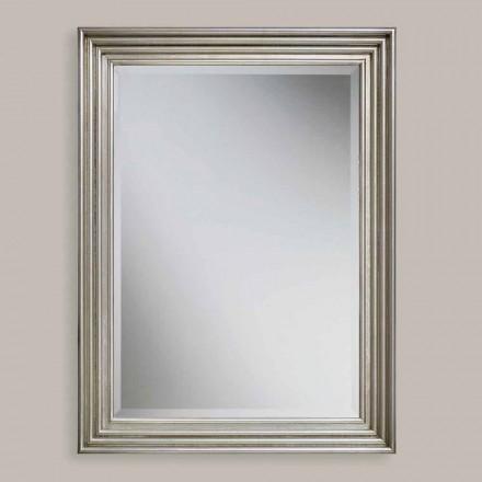 Handgearbeiteter Wandspiegel aus Gold / Silberholz, hergestellt in Italien, Stefania