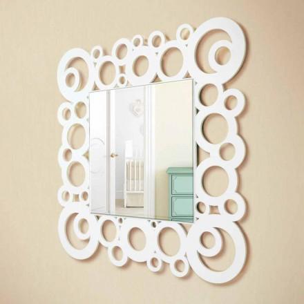 Weißes Quadrat Wandspiegel Modernes Design mit Holzdekorationen - Blase
