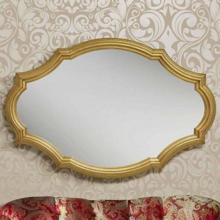 Moderner Silber / Gold Wandspiegel aus Holz, hergestellt in Italien Davide