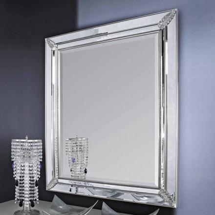Silber / Gold Wandspiegel aus Holz, komplett handgefertigt in Italien, Samuele