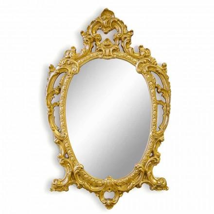 Ovaler Wandspiegel handgefertigt aus Holz, hergestellt in Italien, Roberto