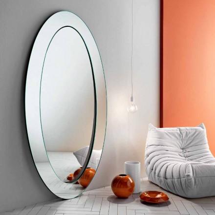 Moderner ovaler freistehender Spiegel mit geneigtem Rahmen Made in Italy - Salamina