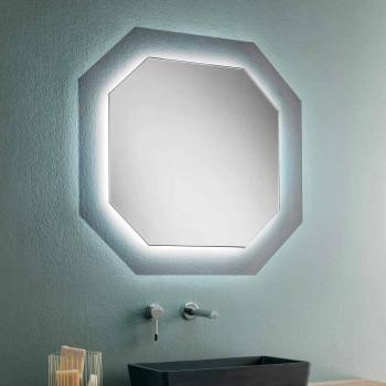 Wandspiegel im modernen Design mit Glasrahmen und integrierter LED - Vitozzo