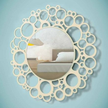 Runder Wandspiegel aus braunem Holz von modernem Design mit Rahmen - Hummel