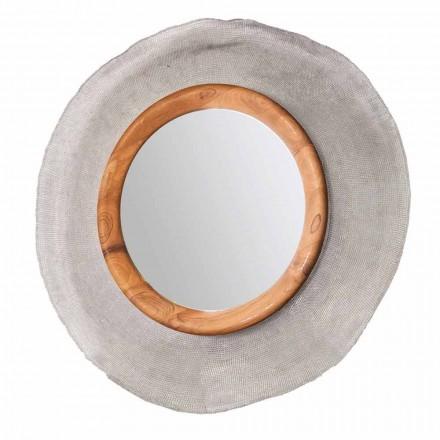 Moderner runder Wandspiegel aus Metall und Teak Monno