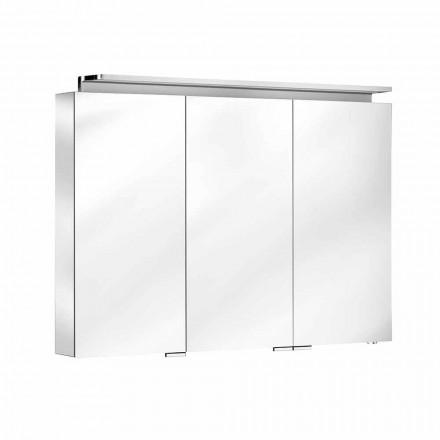 Badezimmerspiegel mit 3-türiger Schrankwand mit Innenregalen - Bramo