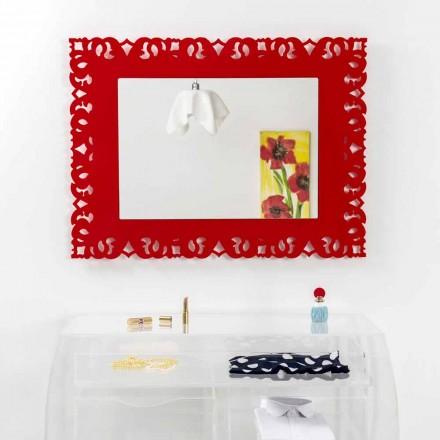 Roter Wandspiegel mit Tonya Macramé Dekoration in Italien