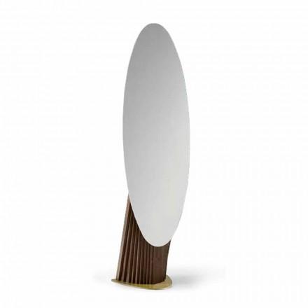 Luxus-Bodenspiegel aus Eschenholz und Metall Made in Italy - Cuspide