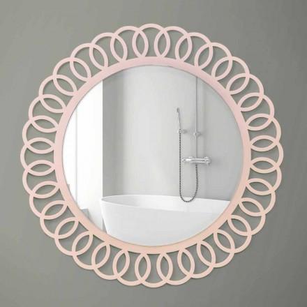 Großer Wandspiegel aus dekorativem und modernem Design in Pink Wood - Crown