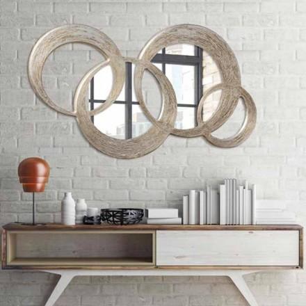 Spiegel aus MDF mit Blattsilber handdekoriert Ball