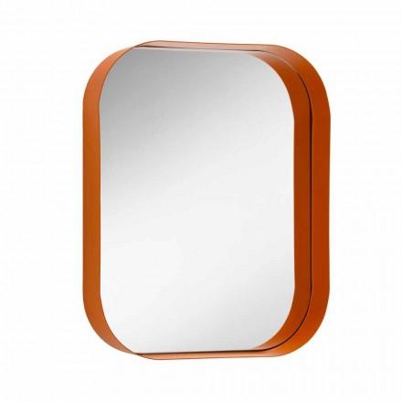 Abgerundeter rechteckiger Spiegel, Metallrahmen Made in Italy - Alexandra