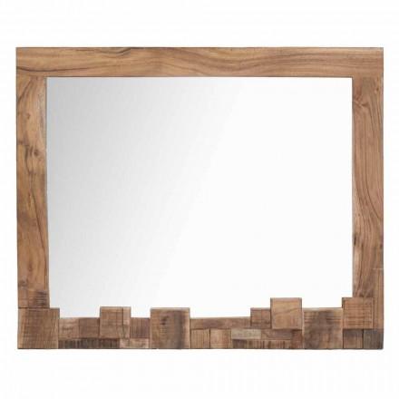 Moderner rechteckiger Wandspiegel mit Akazienholzrahmen - Eloise