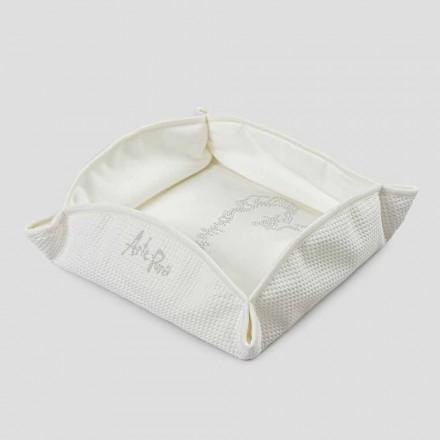 Natürliches weißes Passepartout Taschenfach mit Kristallen, Perlen oder Spitze - Sasseo