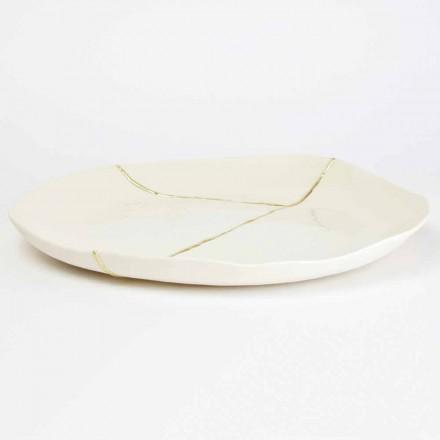 Design Runde Taschenschale aus weißem Porzellan und Blattgold - Cicatroro