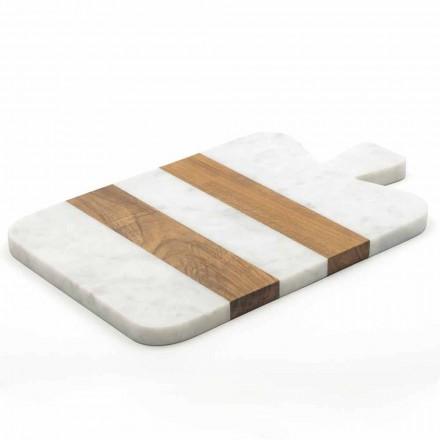 Weißer Carrara Marmor und Holz Made in Italy Design Schneidebrett - Evea